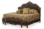 tempat tidur king bed lapis kulit oscar kayu mahoni