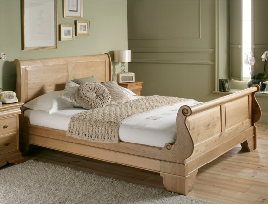 set tempat tidur sleigh cream mahoni