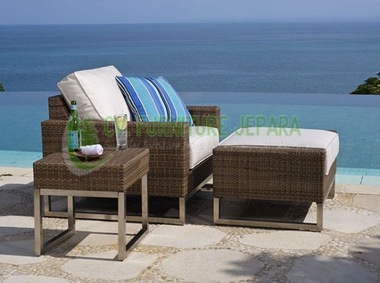 Set kursi rattan relax santai stool + side table