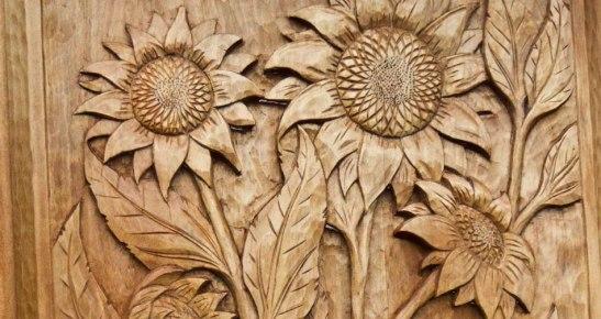 Ukiran frame Bunga matahari kayu